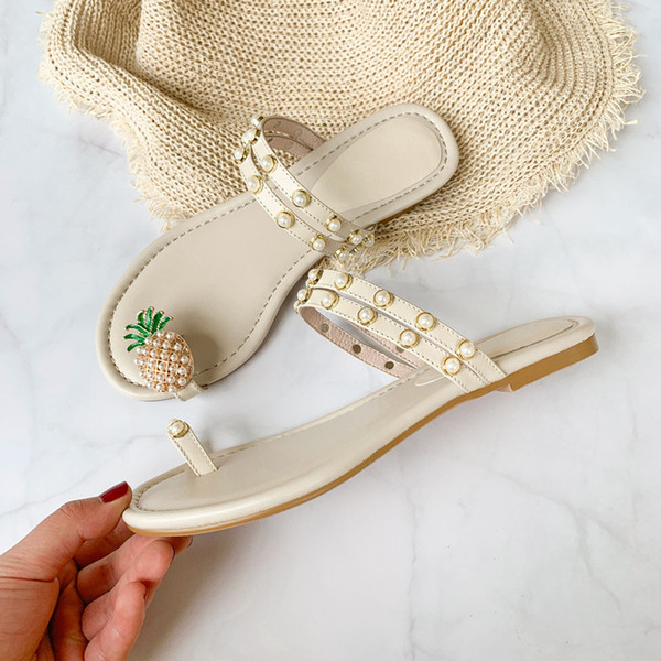 Оптовая ананас жемчуг мода сандалии из натуральной кожи леди сандалии для женщин котенок пятки плоский каблук Обувь шлепанцы белый размер US4-9