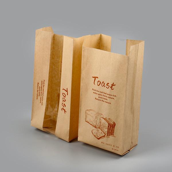 Ölbeweis Toastbeutel Lebensmittelverpackung zum Mitnehmen Brotverpackung mit durchsichtiger Papiertüte mit Lebensmitteln Dhl-freies Verschiffen