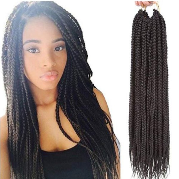 "3Packs 14''18""22"" Box Braids Crochet Hair Synthetic Hair Extensions Twist Crochet Braids Hairstyles Long Dreadlocks for Black Women (2#)"