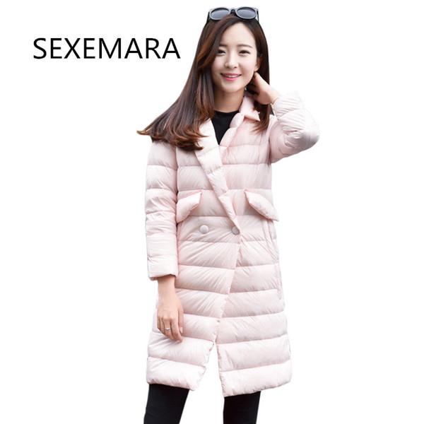 2018New осенняя и зимняя модели куртки хлопок дама сверхлегкая верхней одежда проведение твердой теплая длинный участок Шинель женщина 322