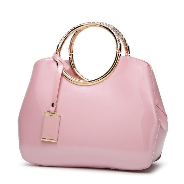 2019 parlak rugan çanta zarif bir atmosfer gelin evli kadınların çanta omuz çantası Messenger toptan klişeleri