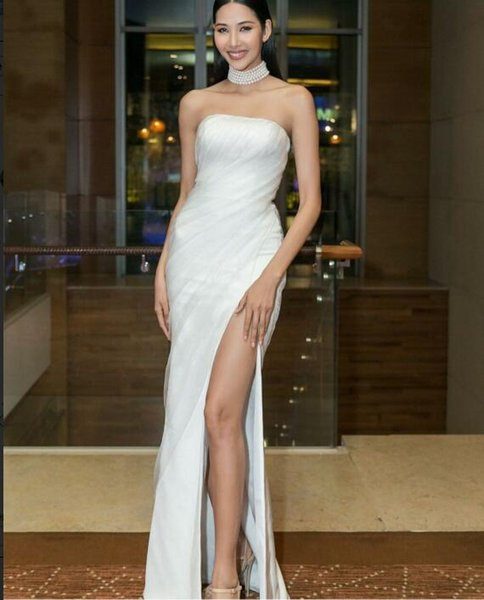 Evening Dress Long Dress Sleeveless Reffle Tulle Side Split White Sheath Modern Classic All sizes can be customized 443