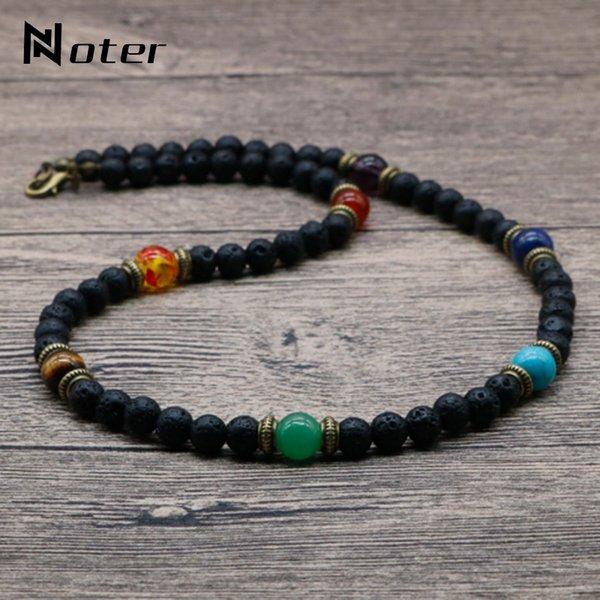 Joyería de moda Noter 2021 Chakra Hombres Lava natural Piedra Tribal Collar espiritual Punk Choker Collar Presente Para Marido