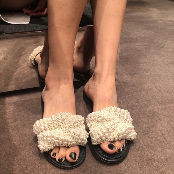 2019 new handmade pearl unique personality white gray black slippers ladies anti-slip sandals soft leather slippers flat casual slippers