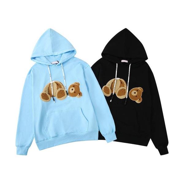 Beheaded Медведь Марка фуфайки Hoodie Передний карман Drawstring суетливый Вышивка FullSleeves пуловер Улица Hiphop Повседневная мода B101025L