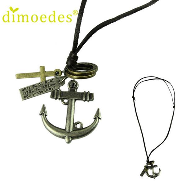 Чувствительная ожерелье ювелирных изделий Корова кожа мужчины ожерелье Punk ретро крест Anchor Подвески Длинные цепи Lovers подарков xsxl