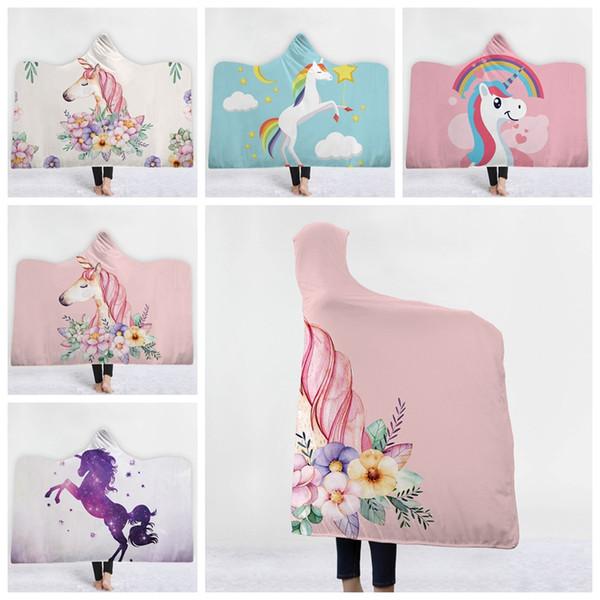 Unicorn Hooded Blanket Sherpa Cloak Dream Unicorn Blanket with Hood 3D Animal Printed Winter Warm Blanket With Hat KKA6238