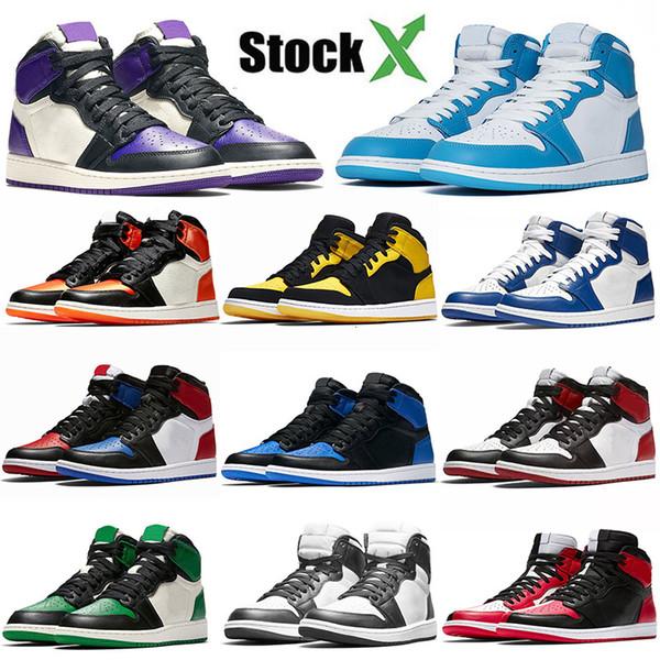 Air Jordon Retres Og 1 Баскетбол обувь 1s Сосна Зеленый Черный Toe Атину Разрушенные Backboard Чикаго Royal Blue Бред Дизайнер кроссовки