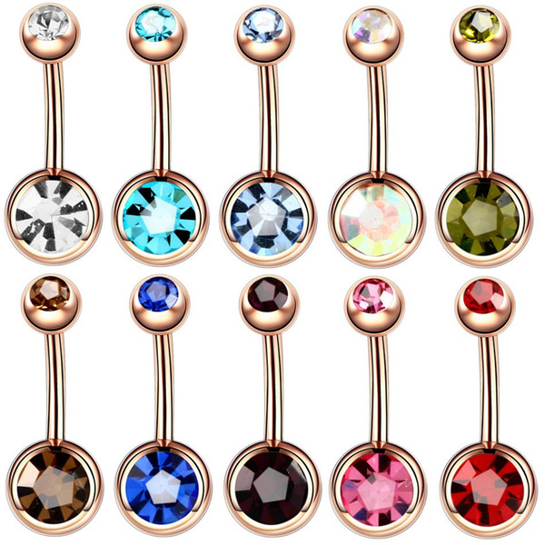 50pcs Rose Gold Double Gem Belly Button Ring Body Jewelry Wholesale navel Ring Animal JEWELRY