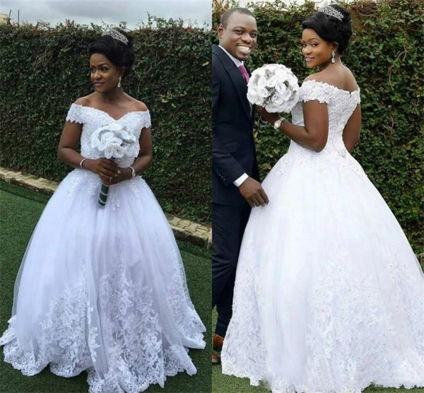 2019 White Lace Plus Size Wedding Dresses Ball Gown Off Shoulder Beads Appliques Custom Formal African Bridal Gowns