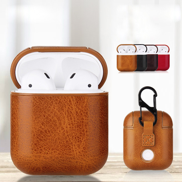 For airpod ca e pu leather ca e protective hockproof charging portable earphone vintage cover with anti lo t hook for airpod 1 2