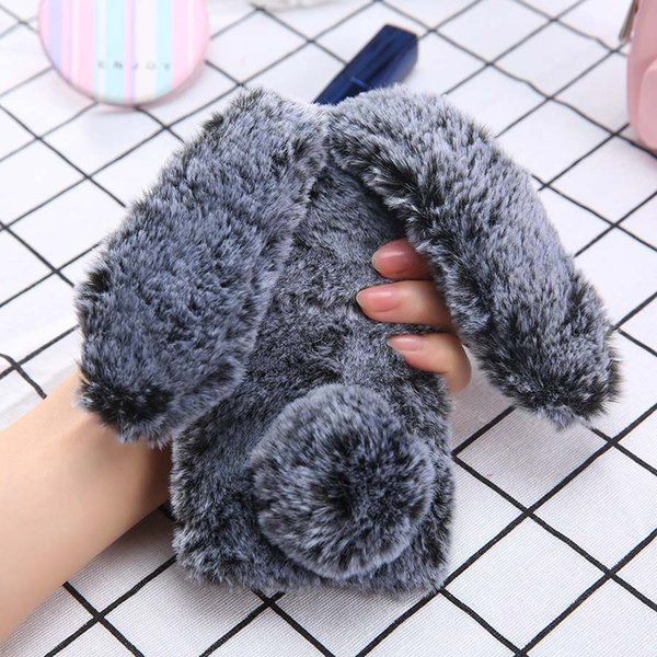 Mobile Phone Cases For iPhone X 8 7 6 6s Plus Case Cute Soft Fluffy TPU Long Ear Rabbit Fur Hair Back Cover
