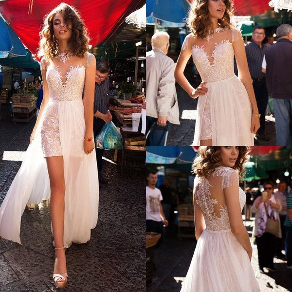 Lussano 2019 Boho Vestidos de novia Joyas Cuello Gorra Manga de la borla Vestidos de novia cortos con tren desmontable Alto Split Vestido de novia de playa