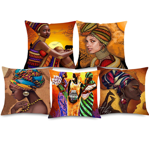 African Girl Portrait Oil Painting Cushion Cover Dancing Woman African Culture Home Decorative Linen Pillows Cover for Sofa Chair Seat