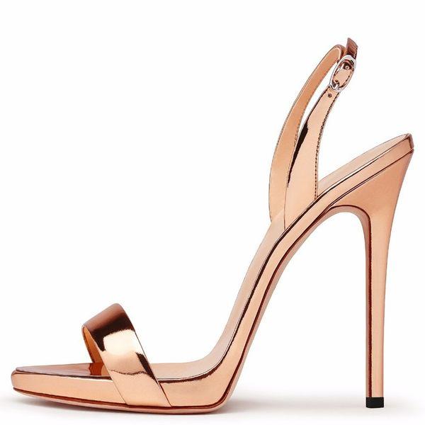 2018 Shoes Woman Heels Gold Metallic Sexy Peep Toe Sandal 12 CM High Heel Platform Sandals Female Party Dress Shoes Big Size