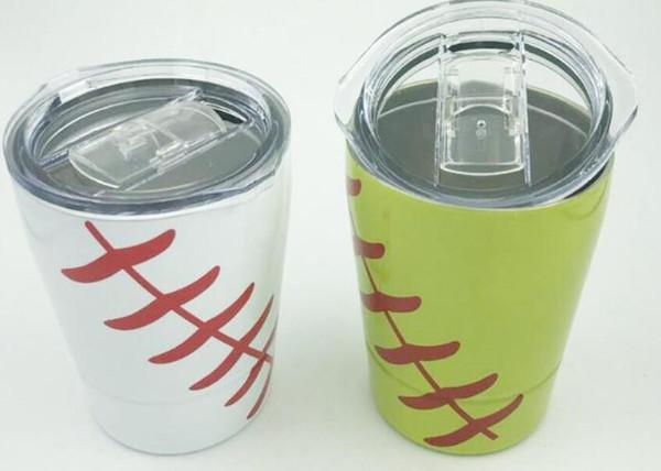 Beyzbol topu 9 oz Tumbler Beyzbol şarap gözlük Paslanmaz Çelik Bardak Seyahat Araç Bira Strawslids ile Kupa olmayan Vakum kupalar Çocuklar bardak