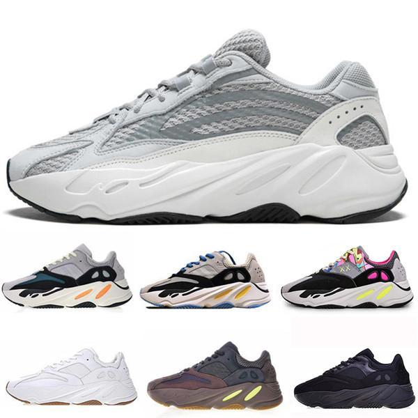 Batı Yedi yüz Dalga Koşucu Koşu Ayakkabıları Mens Womens Için Kanye 700 s V2 Statik Spor Sneakers Leylak Düz Gri Lüks Tasarımcı ayakkabı