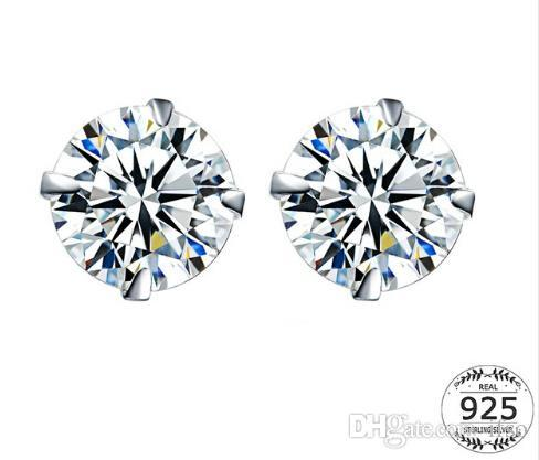 925 Sterling Silver CZ Stud Earrings For Women Jewelry Simple Cubic Zircon Ear Piercing Post Earrings
