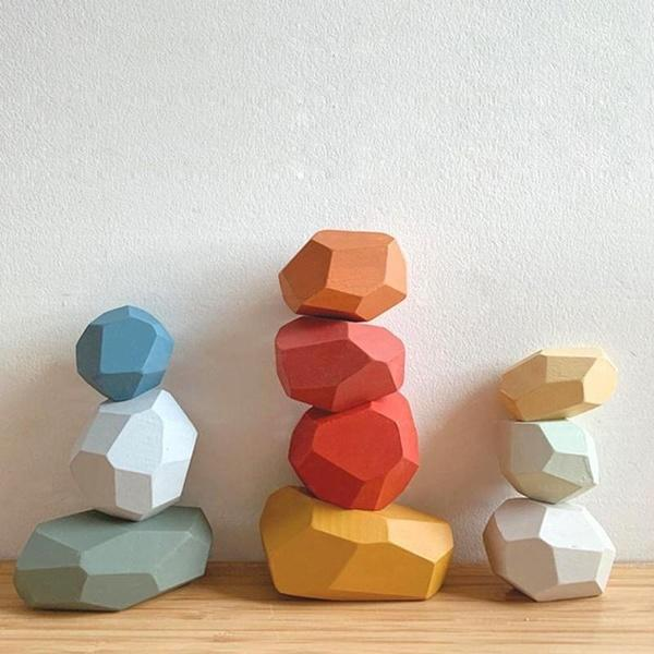 top popular 10 pcs Children Wooden Colored Stones Building Block Educational Toys Creative Game Rainbow Toy Kids Gift 2021