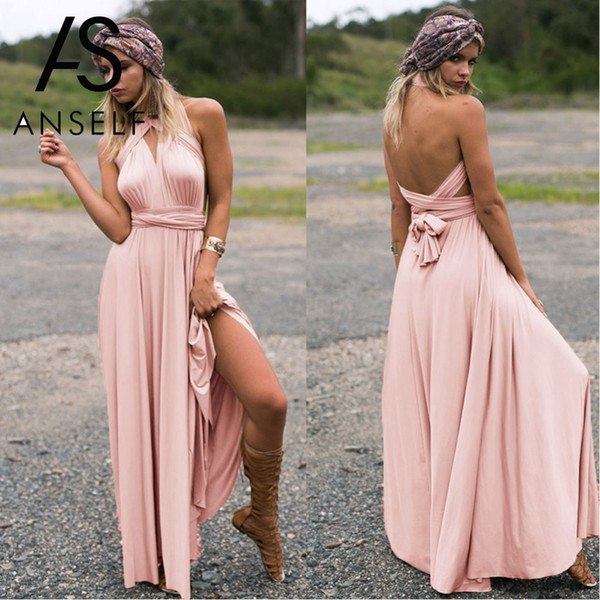 Anself Sexy Long Dress Bridesmaid Formal Multi Way Wrap Convertible Infinity Maxi Dress Pink Hollow Out Party Bandage Vestidos Y19012201
