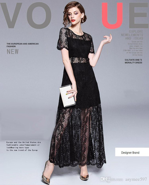 2018 Fashion New Women Lace Dress,Short Sleeve,Lace transparent Hollow Out Style,Nice Split,One Black Colour