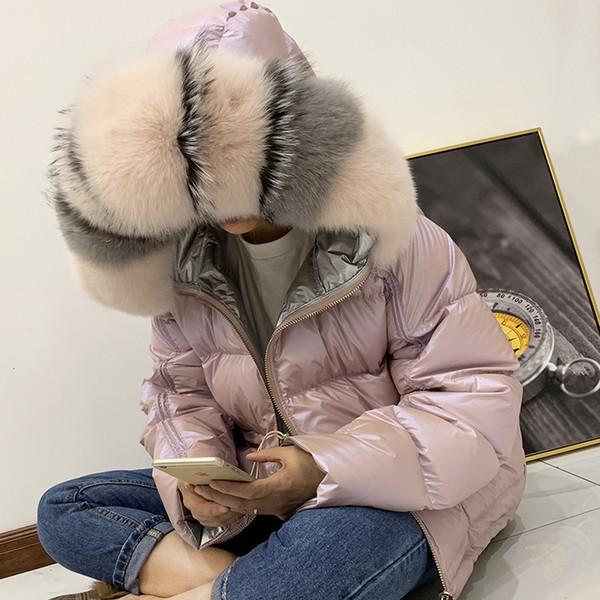 Kış Ceket Kadınlar Parlak Aşağı Parka Real Rakun Kürk Yaka Kadın Ceket Kış Kapşonlu Parkas Sıcak Kalın Parka Kadın Coat Y191007