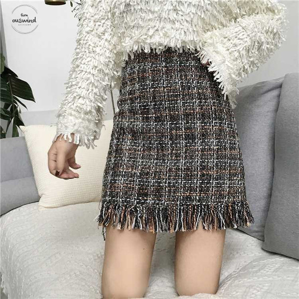 Шерстяные Женщины мини-юбка осень зима Straight плед кисточка Skater юбка высокой талия Femininas Faldas Урожай Mujer