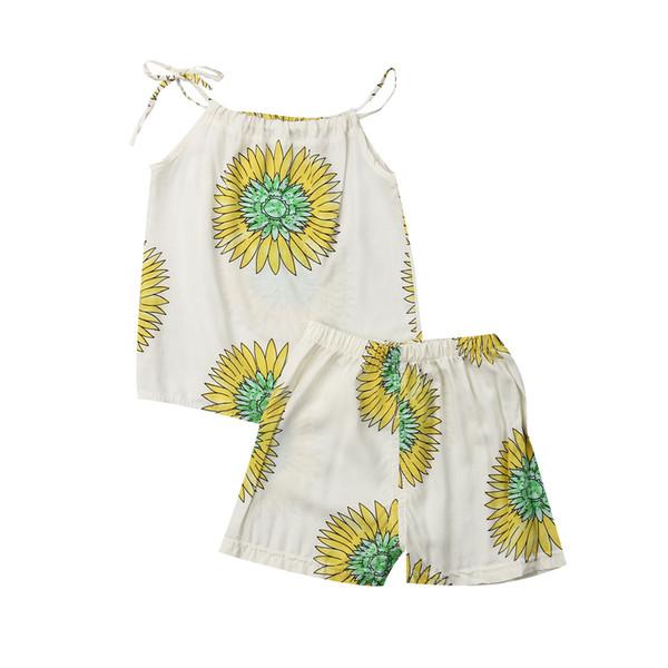 Kız Giysileri Yeni Yürüyor Bebek Kız Yaz Giysileri Çiçek Yelek Üstleri Şort Pantolon Kıyafetler Set Pamuk O-Boyun Kız Giysileri