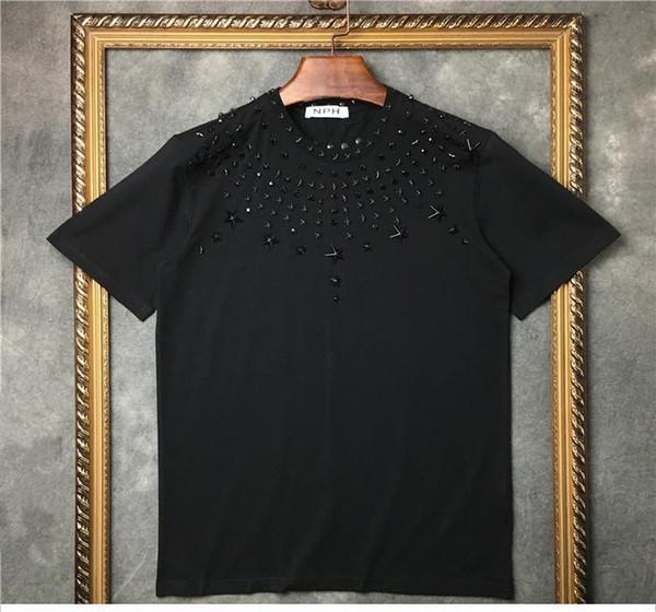 New Nouveauté 2017 forage de forage en métal étoile Hommes T-shirts T-shirt Hip Hop Skateboard rue coton T-shirts Tee Top Kenye t-shirt à l'ouest