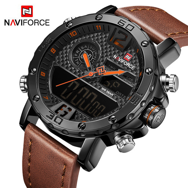 Mens To Luxury Brand Men Leather Sports Watches NAVIFORCE Men's Quartz LED Digital Clock Waterproof Military Wrist Watch C19010301