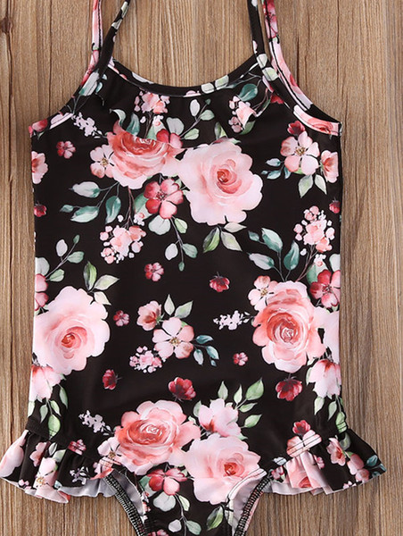 best selling 2020 Summer Swimsuit Cute Toddler Kids Baby Girls Flower Swimwear Swimsuit Bathing Suit Beachwear One Piece 6M-4T