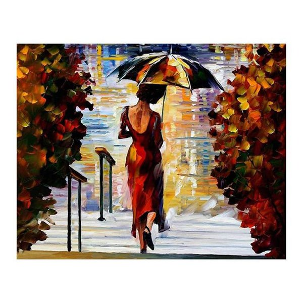 """Romantic walking in the rain forest european-style hand-painted oil painting murals restaurant sitting room sofa decorative painting 36""""x24"""""""