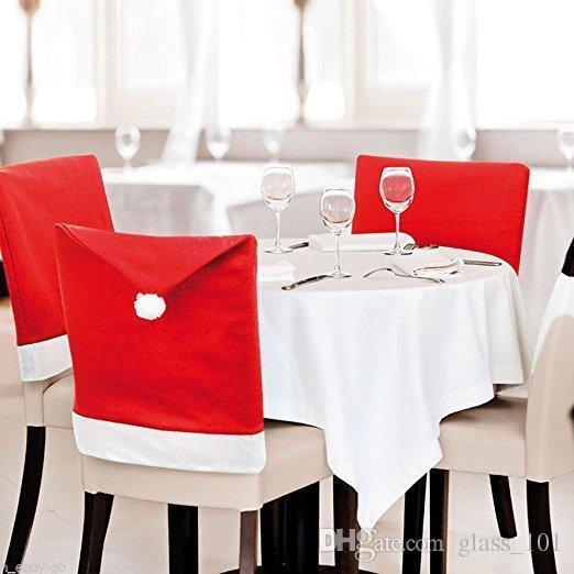 Venda quente Barato Papai Noel Red Hat Cadeira Tampa Traseira Mesa de Jantar de Casamento Decoração de Festa de Casamento