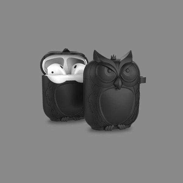 2018 Cute Owl Shape Soft Silicone Shockproof Cover Protective Case With Carabiner For Apple AirPods Earphone Waterproof Case C19011001