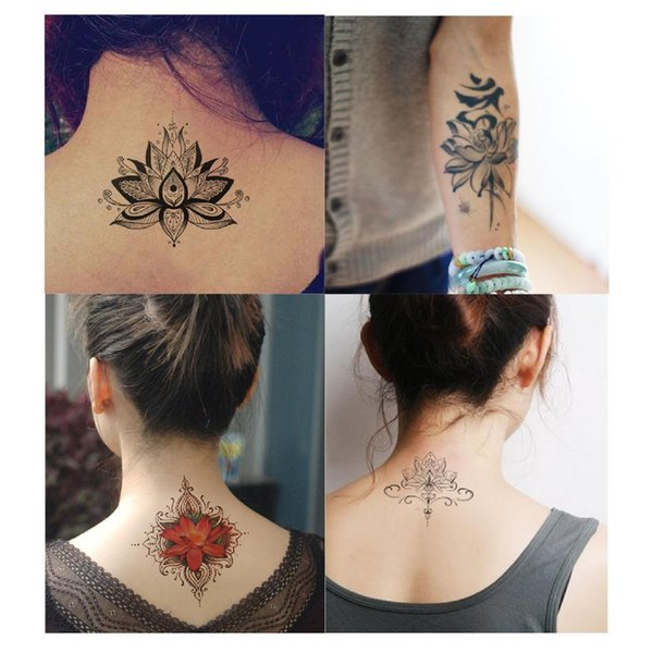 Tatuagens Femininas Delicadas Flores De Lótus Grande Etiqueta Do Tatuagem Temporária à Prova D água Mulheres Meninas De Volta Ombro Peito Falso