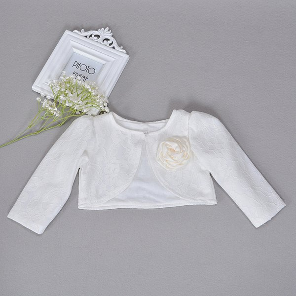 Newbron Children Dress Shawl Ivory Coat Girls Long Sleeved Lace Baby Cardigan Baptism Infant Christening Bolero Lace Jackets J190509