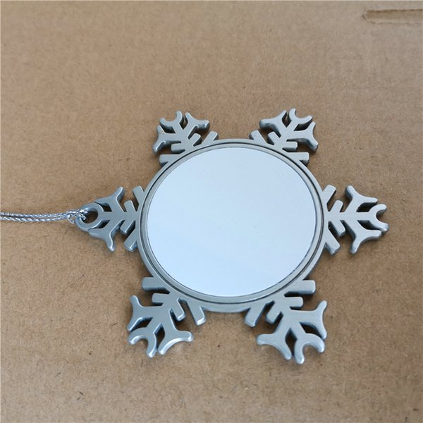 best selling sublimation metal snowflake christmas material hot transfer printing blank consumables diy xmas gifts two sided printing 41.5mm
