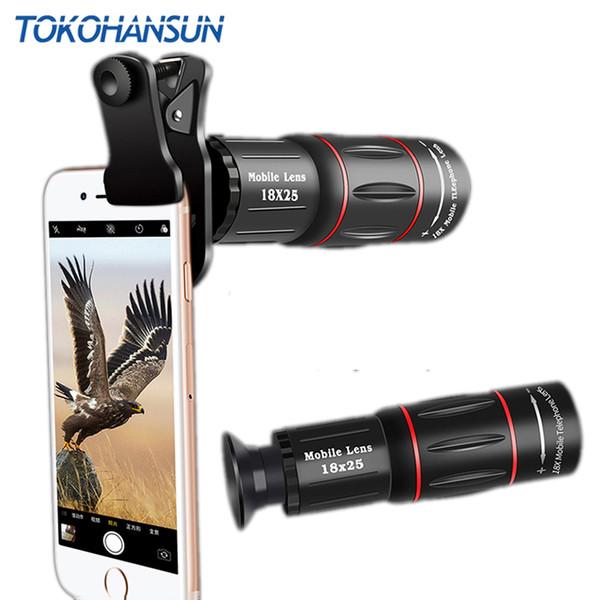TOKOHANSUN Telefon Phone Camera Lens HD universal 18X Telescope Zoom telescope Mobile Phone Lens for iPhone Xiaomi Smartphones