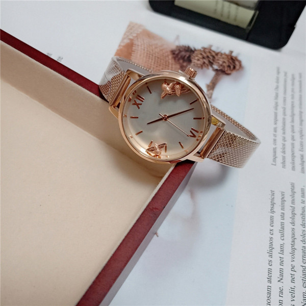 2019 OB Quartz Watch Butterfly Face Double Sided Glass Bees Move Watches  Women Watch Luxury Quartz Watch Business Waterproof Wristwatch Automatic