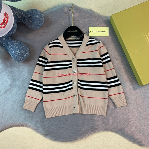 Children Cardigan coat kids designer clothing Autumn V-neck Cardigan Jacket Cotton crochet boys and girls autumn fashion