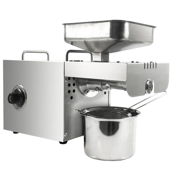 Máquina de prensa de aceite Prensa de aceite de acero inoxidable Prensa caliente en frío Prensa automática Extracción de aceite fabricación 220V / 110V