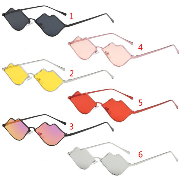 Lips Shape Sunglasses Women Sexy Mouth Sun Glasses Clear Color Metal Frame Eyewear Party Ladies Cateye Small Brand New
