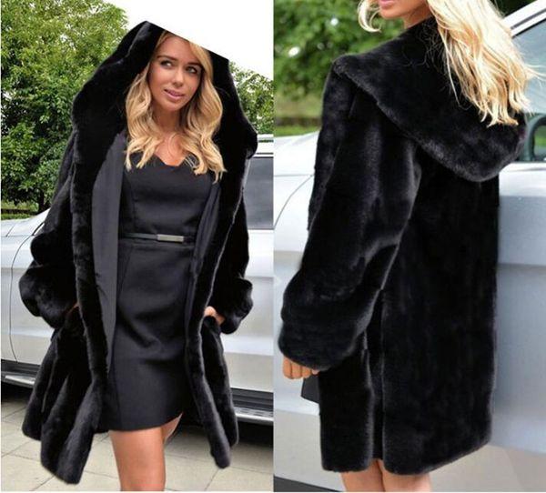 2019 autumn and winter new imitation fur coat female long section Slim hooded faux fur coat noble elegant warm fur coats and jacket