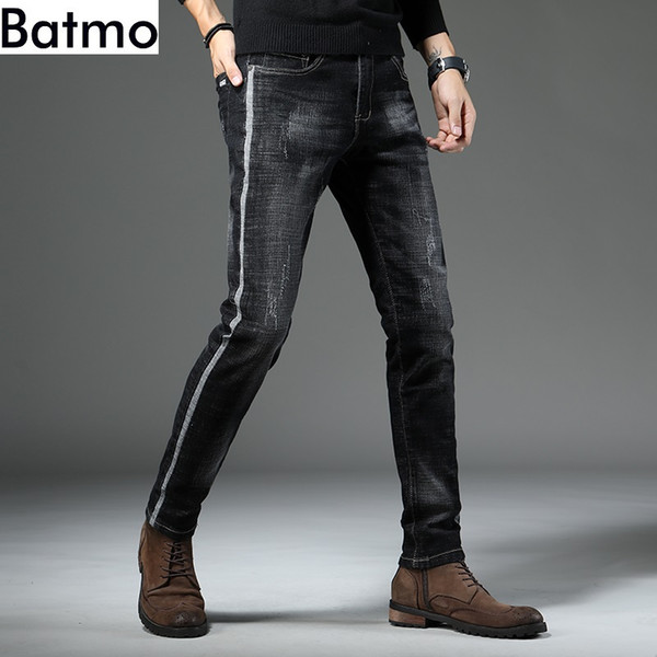 Batmo 2019 new arrival high quality casual slim elastic black jeans men ,men's pencil pants ,skinny Scratched jeans men 818
