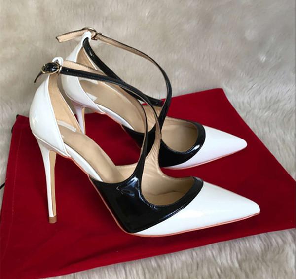 2019 Novo Designer de Luxo Novo fundo Vermelho de couro de Patente Sexy Moda 8 cm / 10 cm / 12 cm Salto Alto Senhoras Calçados Mulheres bombas Sapatos