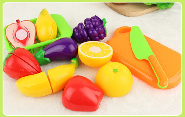 best selling Fruit or Vegetables Play Kitchen Food for Pretend Cutting Food Toys - Educational Playset with Toy Knife, Cutting Board (10pcs set)