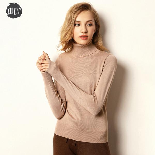 Primavera flojo jersey de punto Jerseys ocasional de las mujeres de manga larga delgada ocasional del cuello alto suéter femenino del tamaño grande S Xl