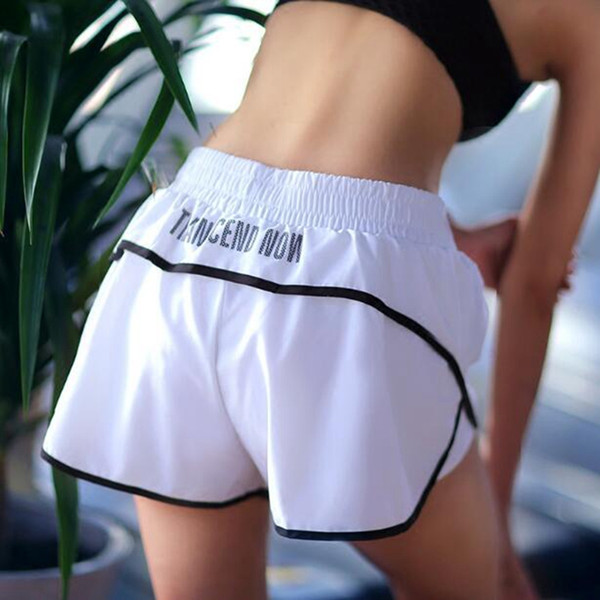 Women 2 in 1 sports print letters loose yoga shorts female anti-light running fitness
