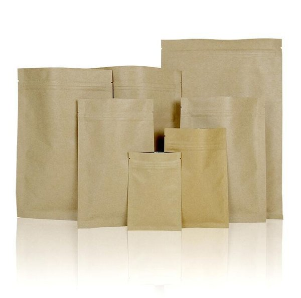 One Sample Set (7Sizes ) Stand up Zipper top Kraft Paper Pouch for Candy Dried Gift Packaging Bags Aluminum Foil Inlay