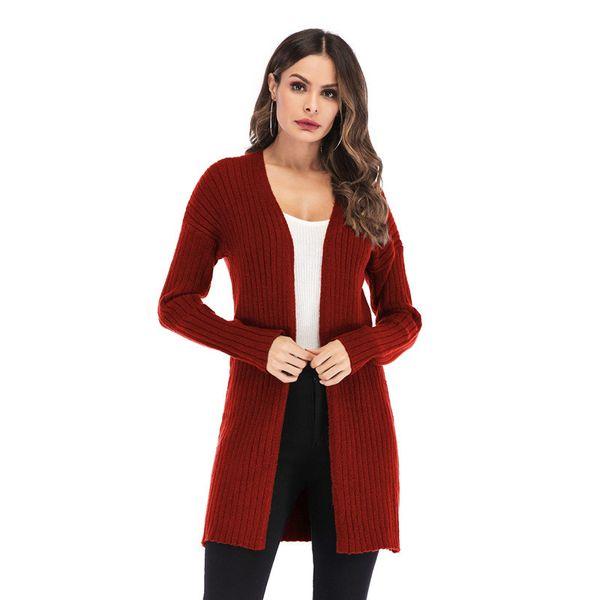Lindo de punto Casual Cozy medio largo acanalado Cardigan vestido para mujeres Kawaii Ladies Knit Drop hombro suéter capa de gran tamaño S-L